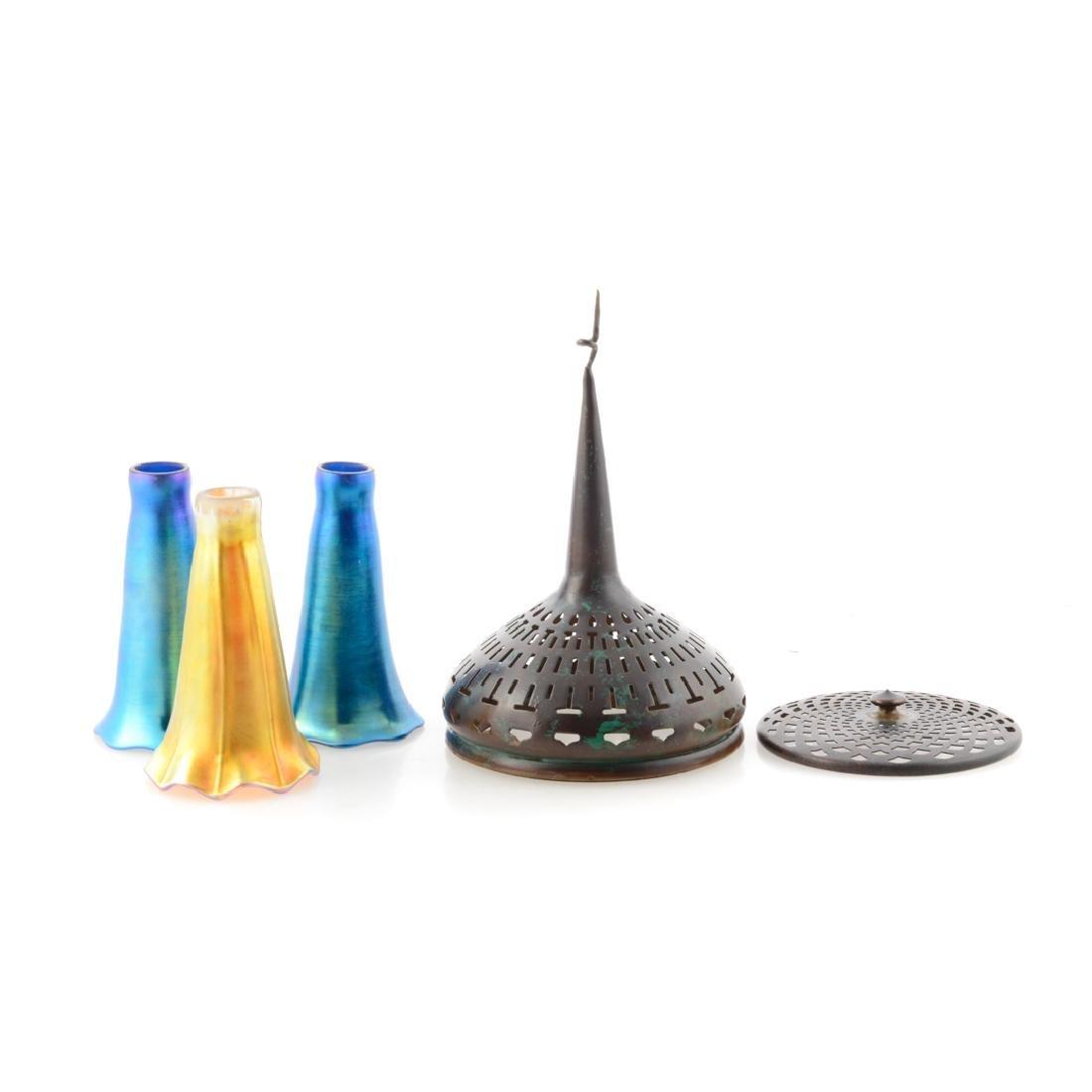 Five Tiffany attributed lamp parts & shades