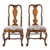 Pair Dutch Baroque walnut side chairs