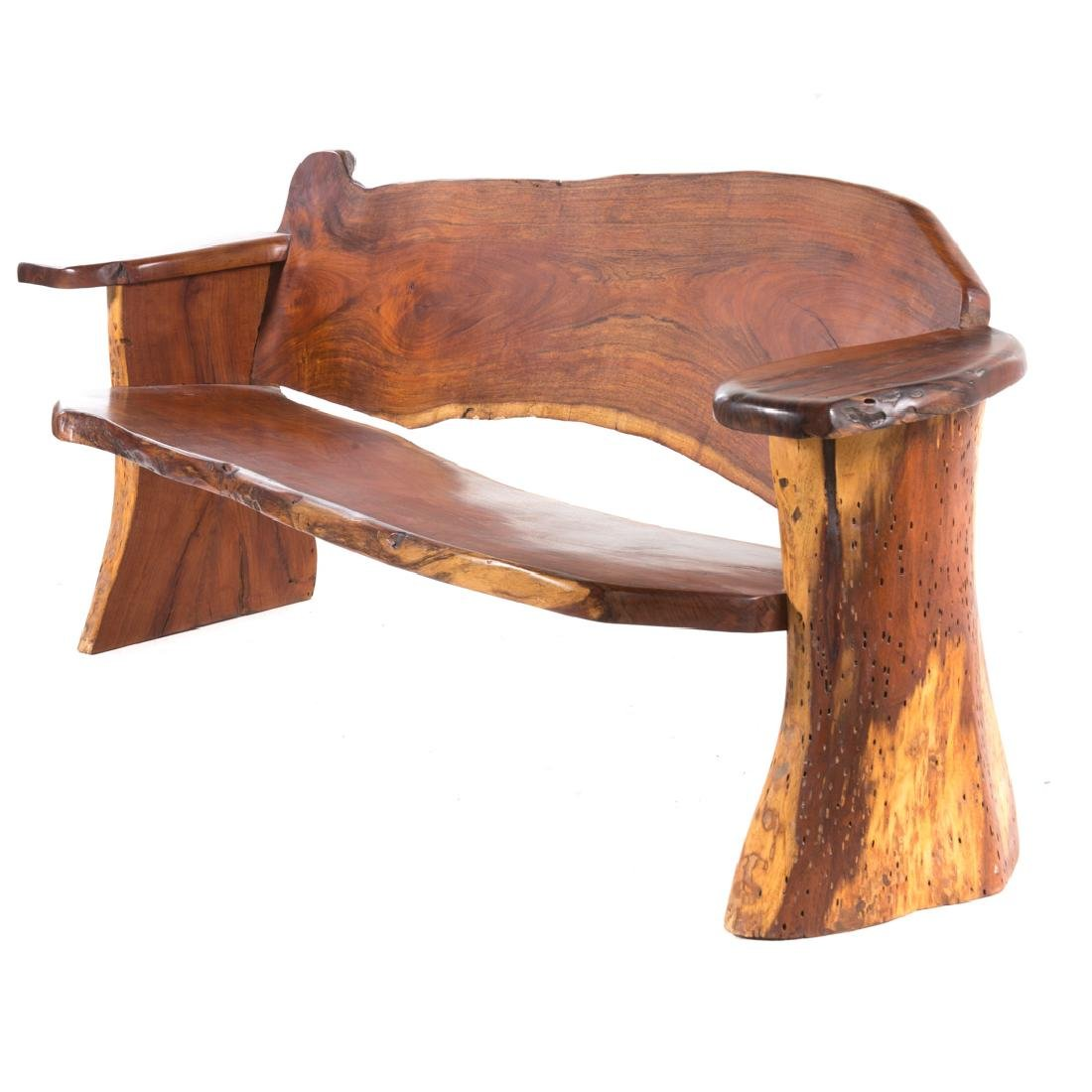 Mid-century Modern walnut bench