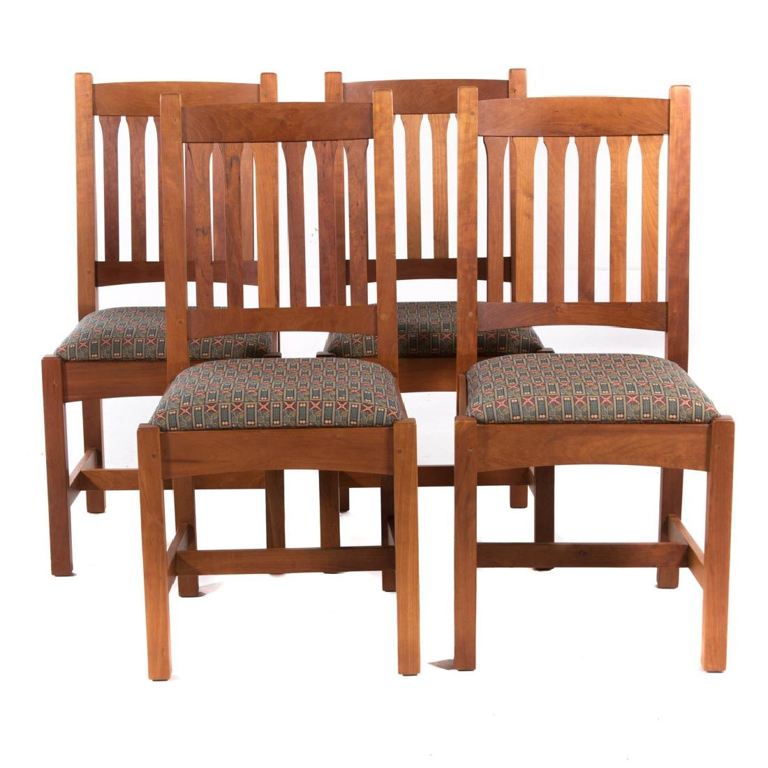Four Stickley cherrywood side chairs