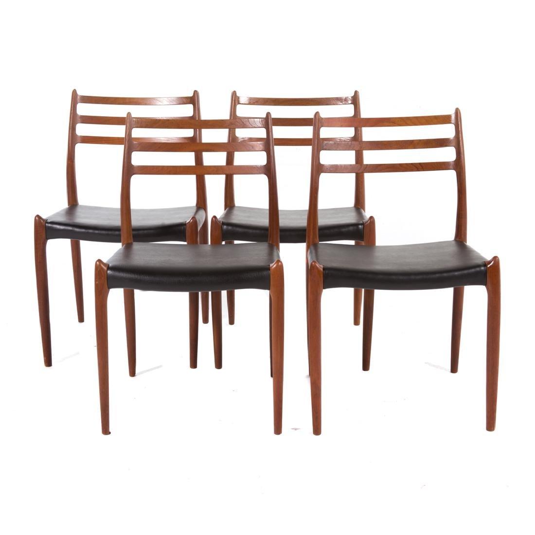Four Danish Modern teakwood dining chairs