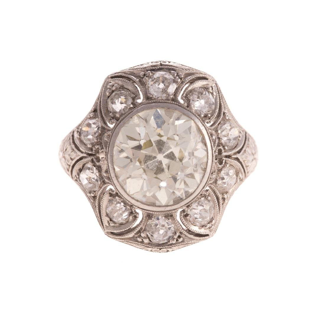 A Lady's 4.51 Diamond Art Deco Ring in Platinum