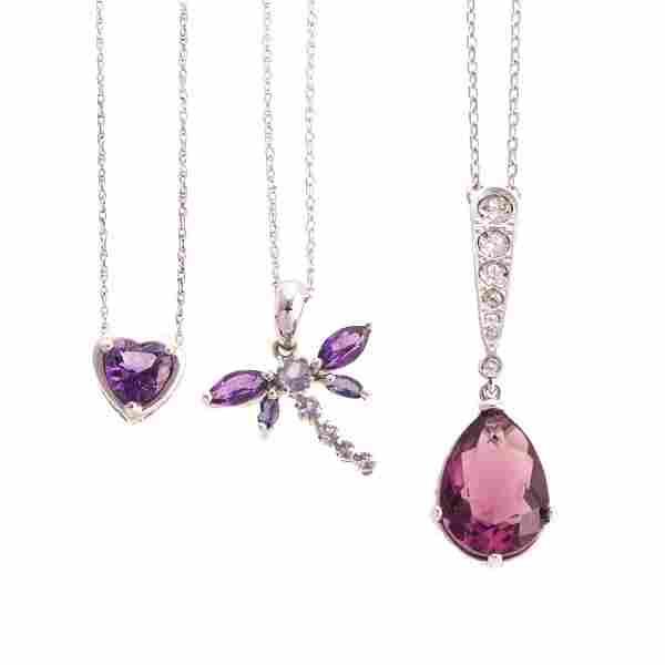 A Trio of Gemstone Pendants & Necklaces