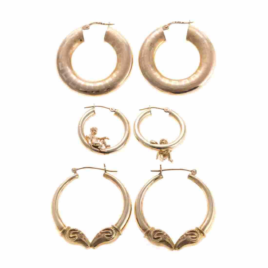 A Trio of Lady's Gold Hoop Earrings