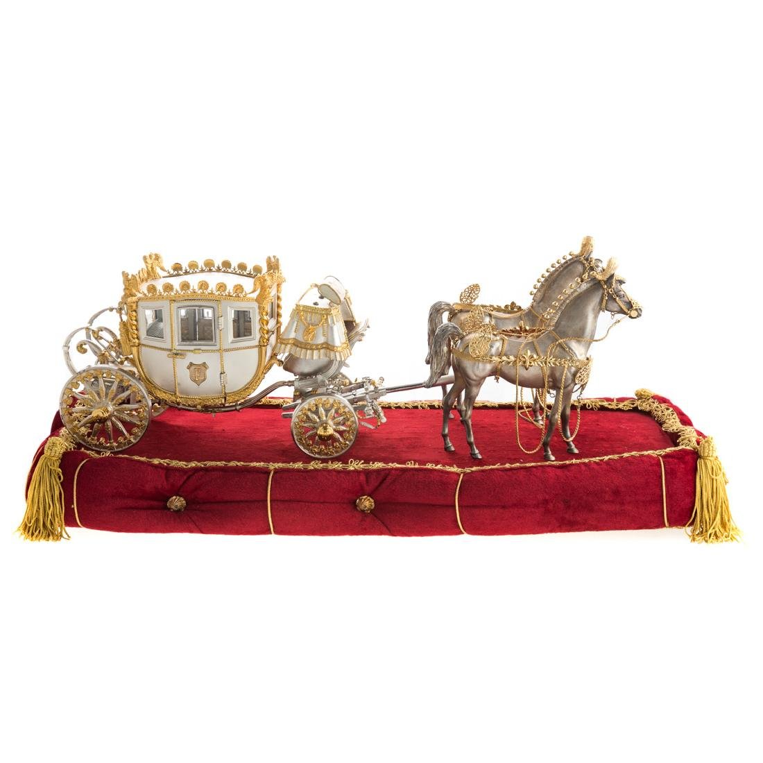 American silver/silver gilt Napoleonic Coach Model
