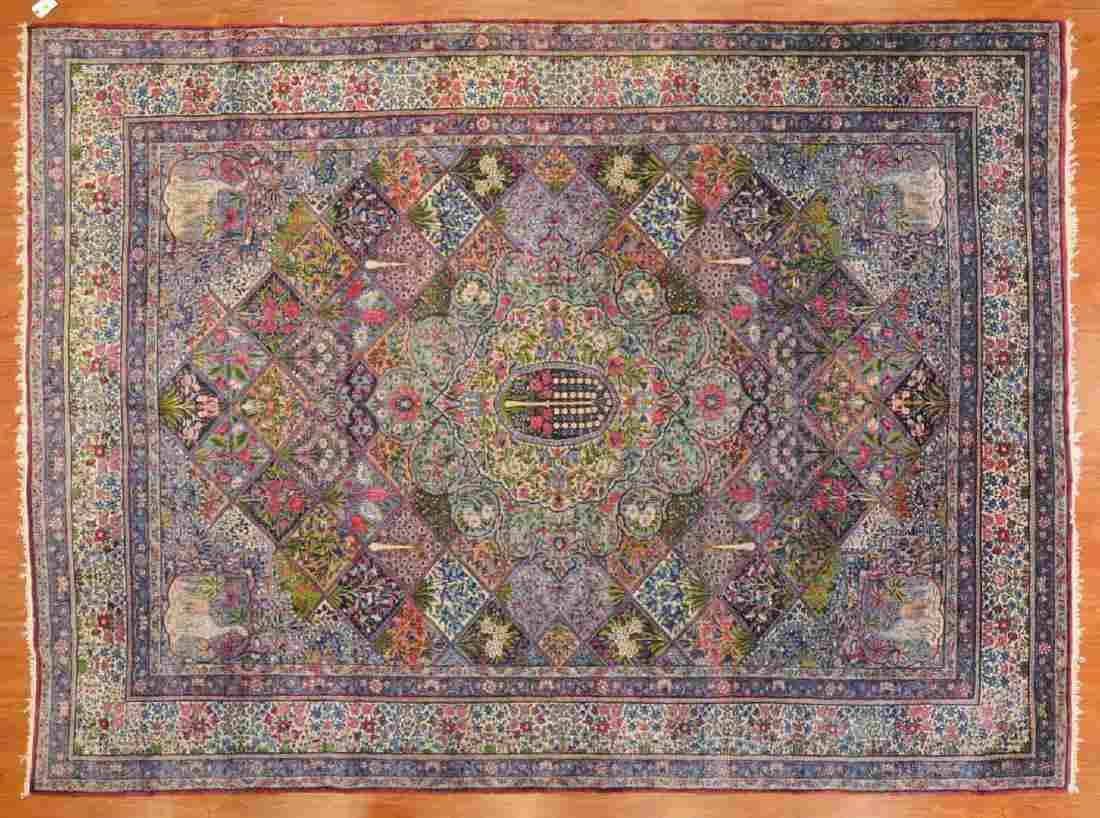 Antique Lavar Kerman carpet, approx. 8.8 x 11.9