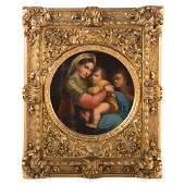 After Raphael Sanzio. Madonna della Seggiola, oil