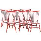 Six Ethan Allen Berkshire Windsor dining chairs