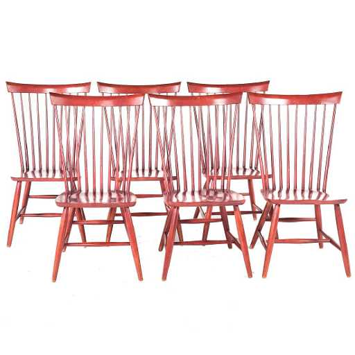 Six Ethan Allen Berkshire Windsor dining chairs