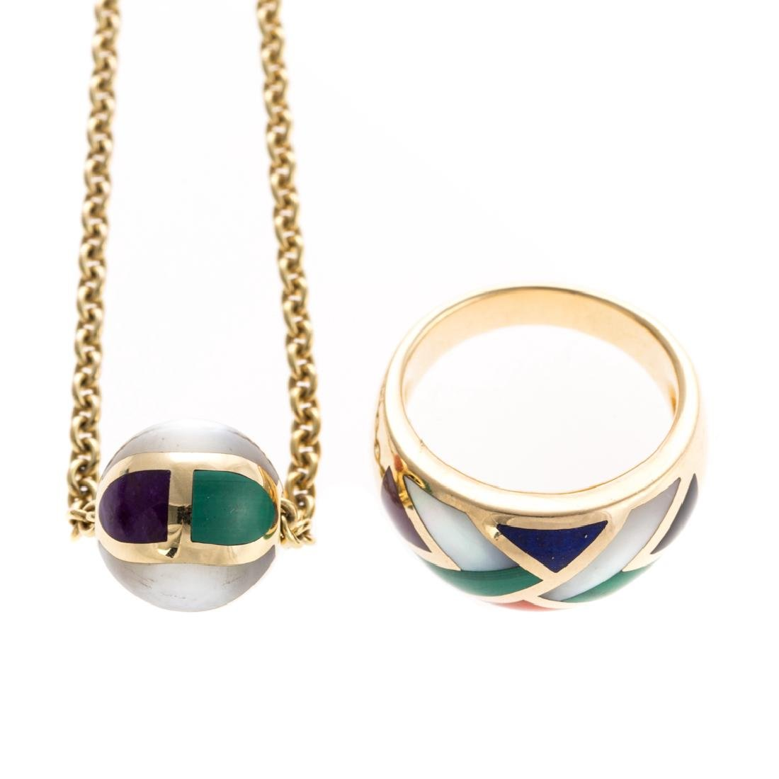 A Lady's Gemstone Inlay Ring & Pendant in 14K Gold