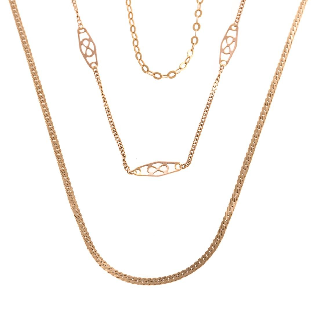 A Trio of Lady's Chain Necklaces in Gold