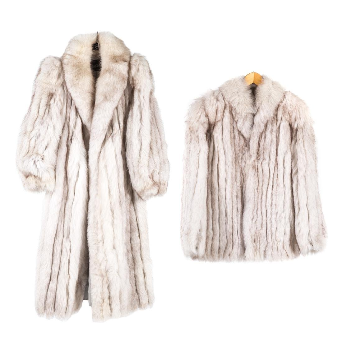 Two Lady's White/Silver Fox Coats