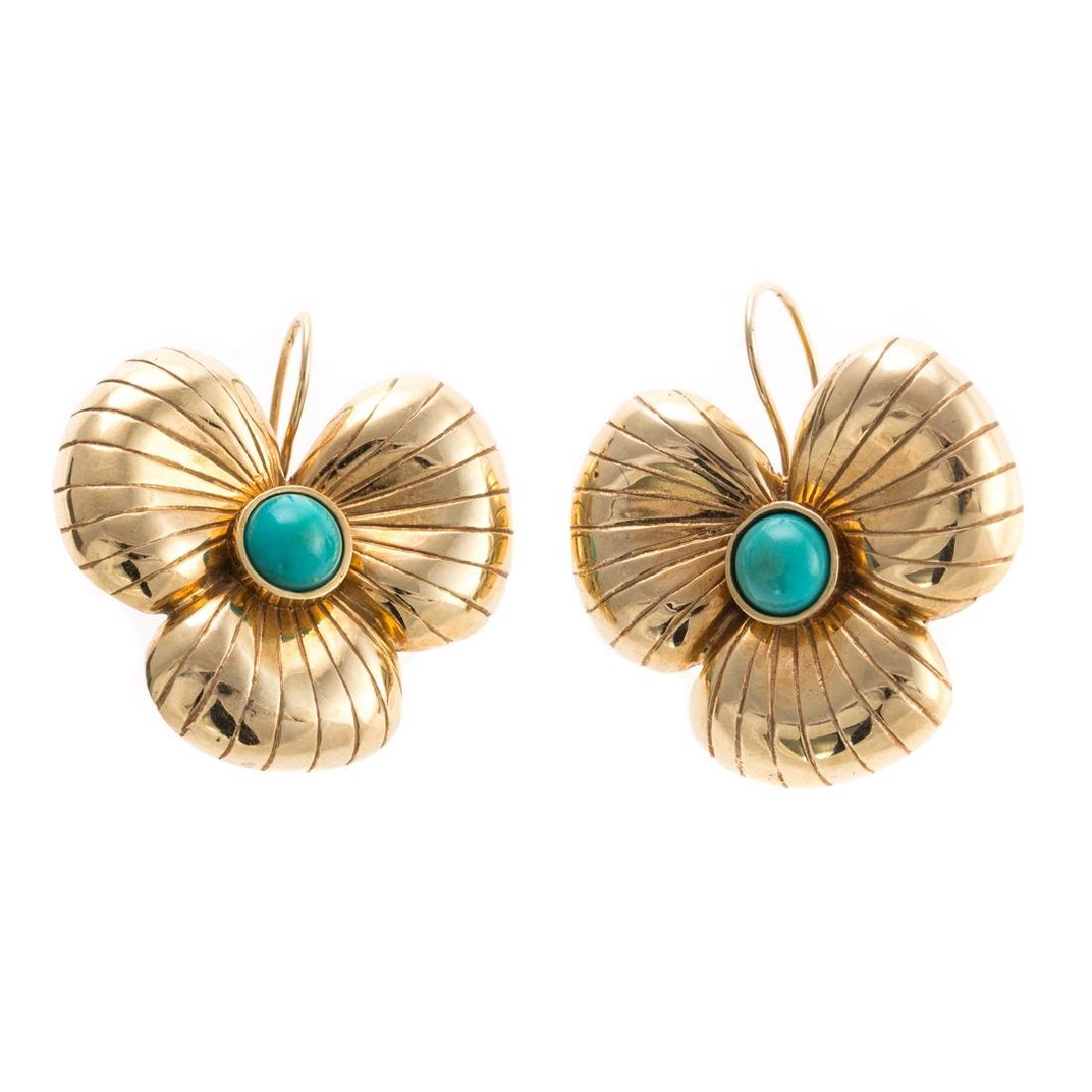 A Pair of 14K Clover Earrings with Turquoise