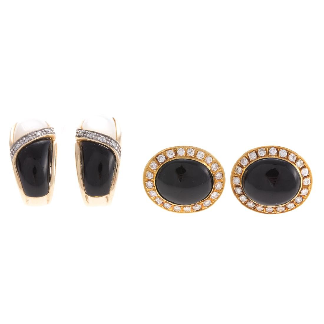 Two Pairs of Black Onyx & Diamond Earrings