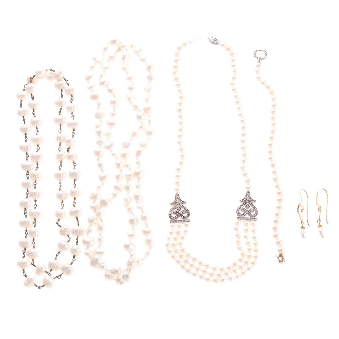 A Collection of Lady's Pearl & Diamond Jewelry