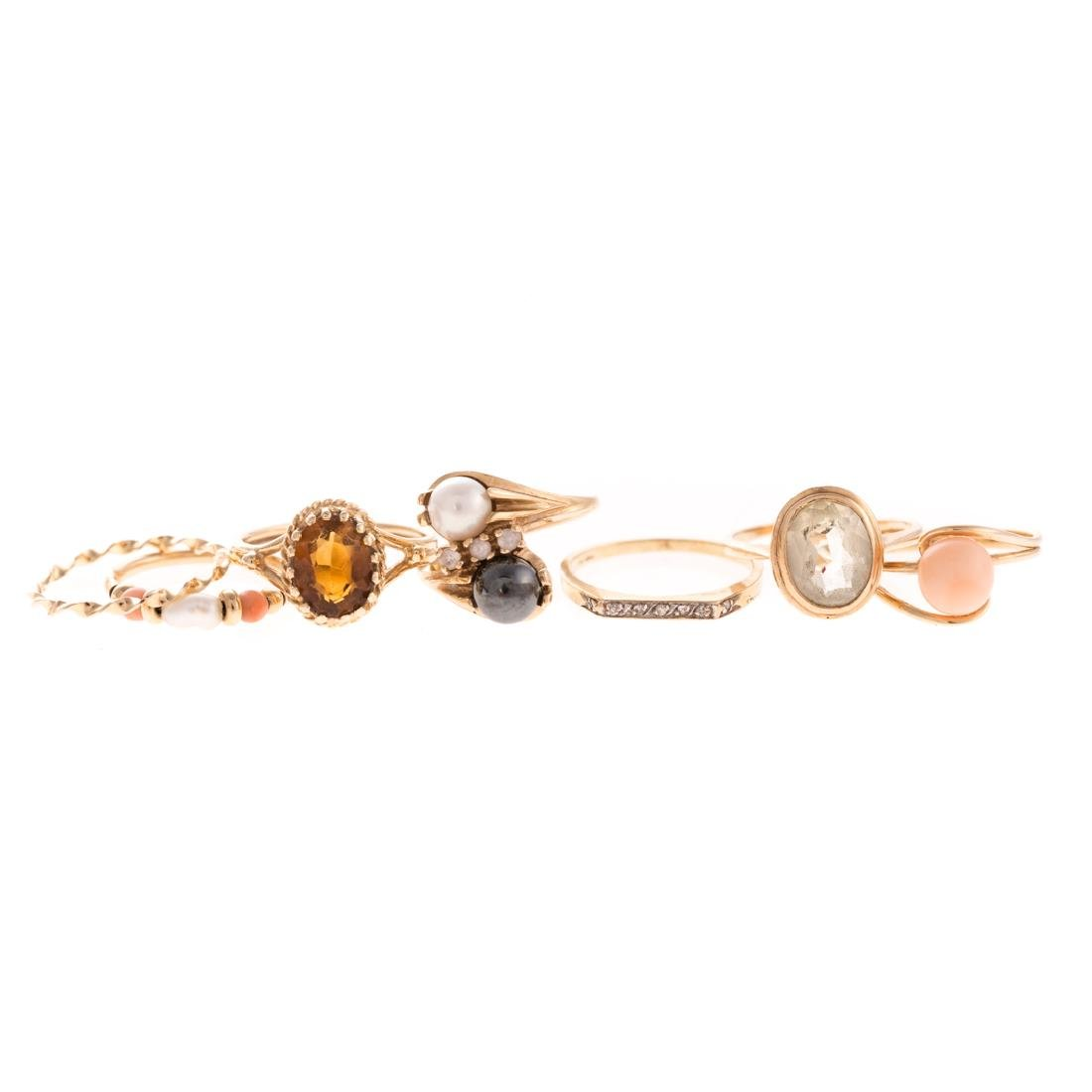 A Collection of Lady's Gemstone Rings in Gold