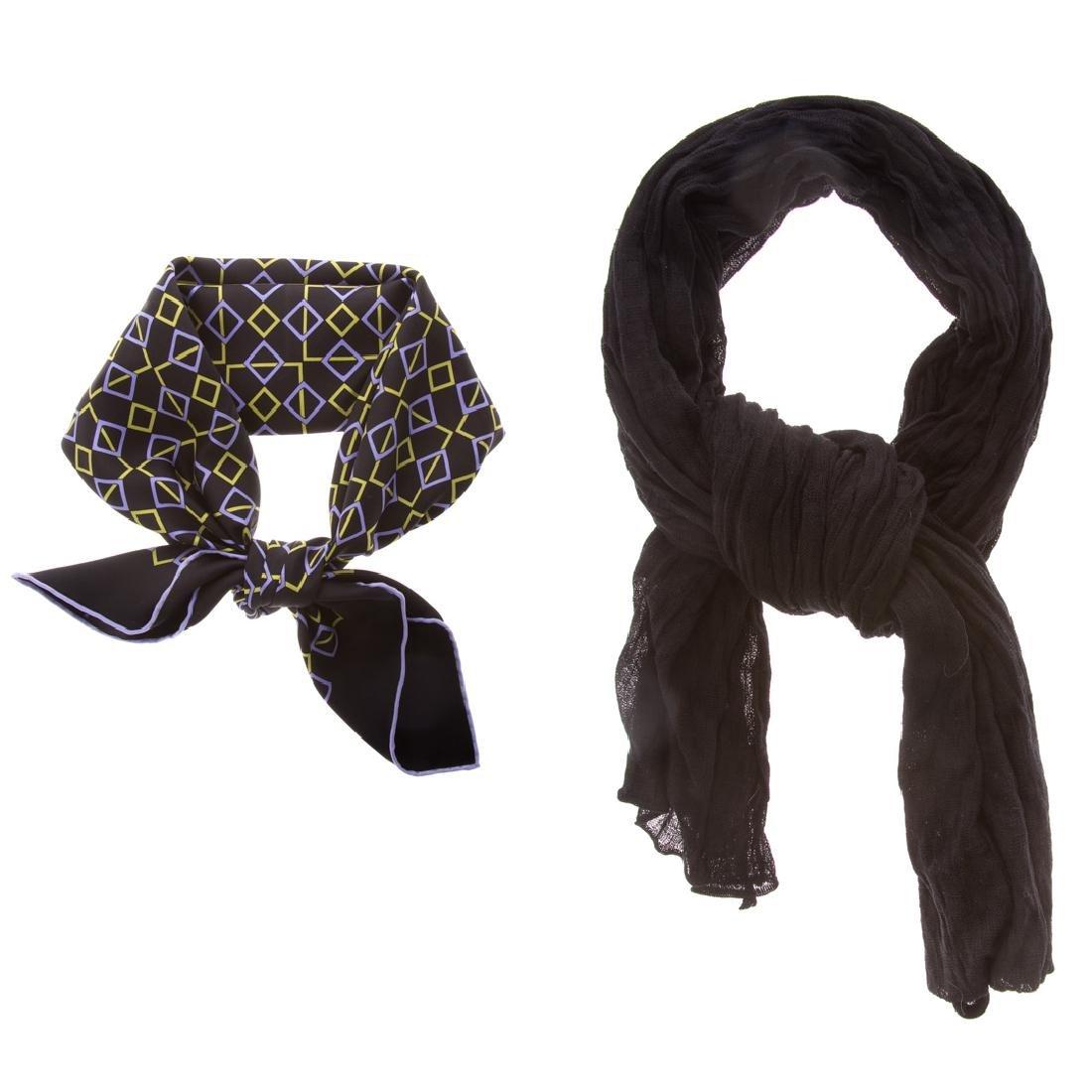 Hermès Silk Geometric Scarf 70 & Blk Cotton Scarf