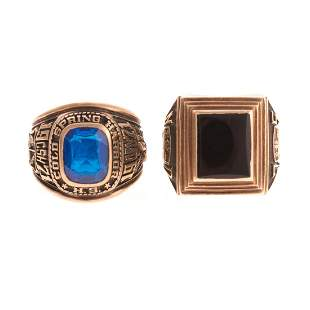 A Pair of Ladys Class Rings in Gold