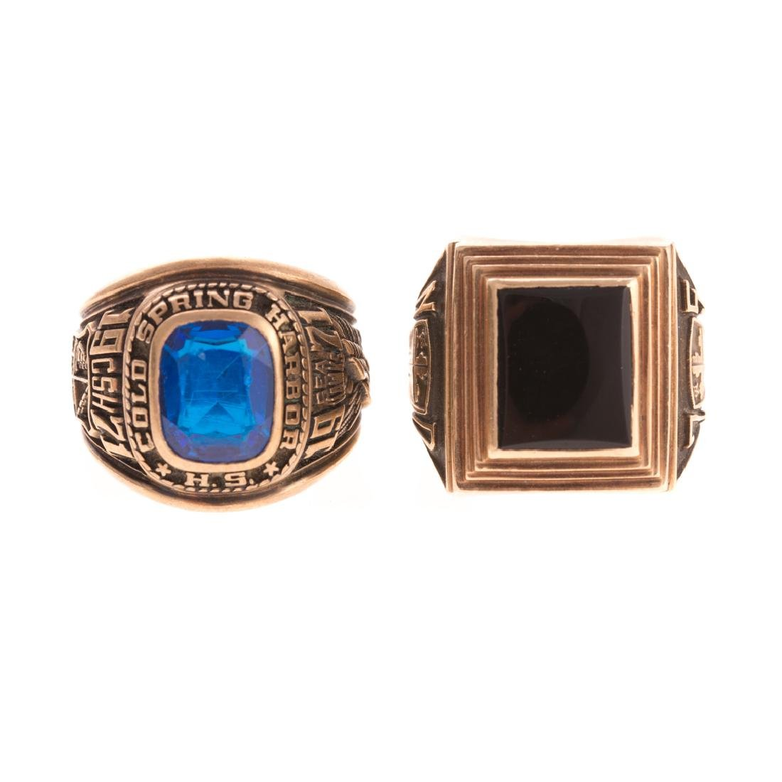 A Pair of Lady's Class Rings in Gold