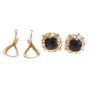 Two Pairs of Ladys 14K Earrings