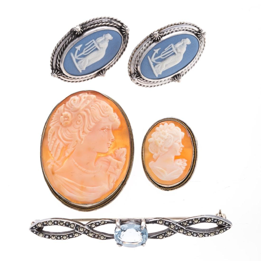 An Assortment of Silver Cameo Jewelry
