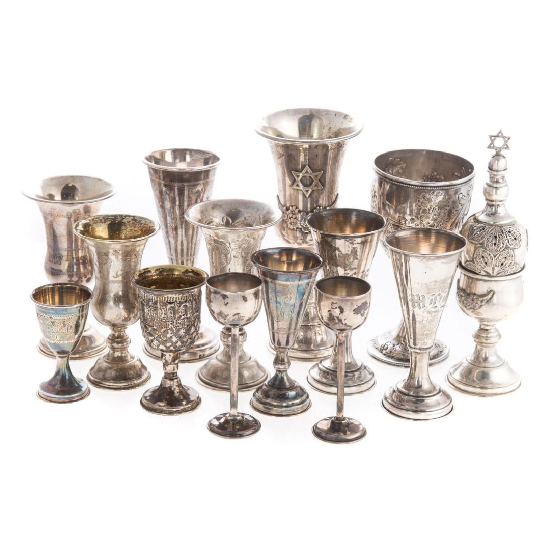 Collection of sterling Judaica items