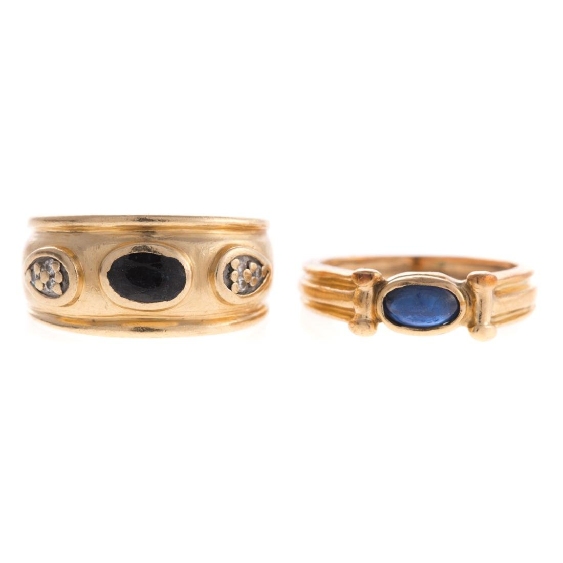Two Sapphire & Diamond Bands in Gold