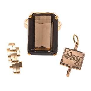 A Smokey Quartz Ring Assorted Gold