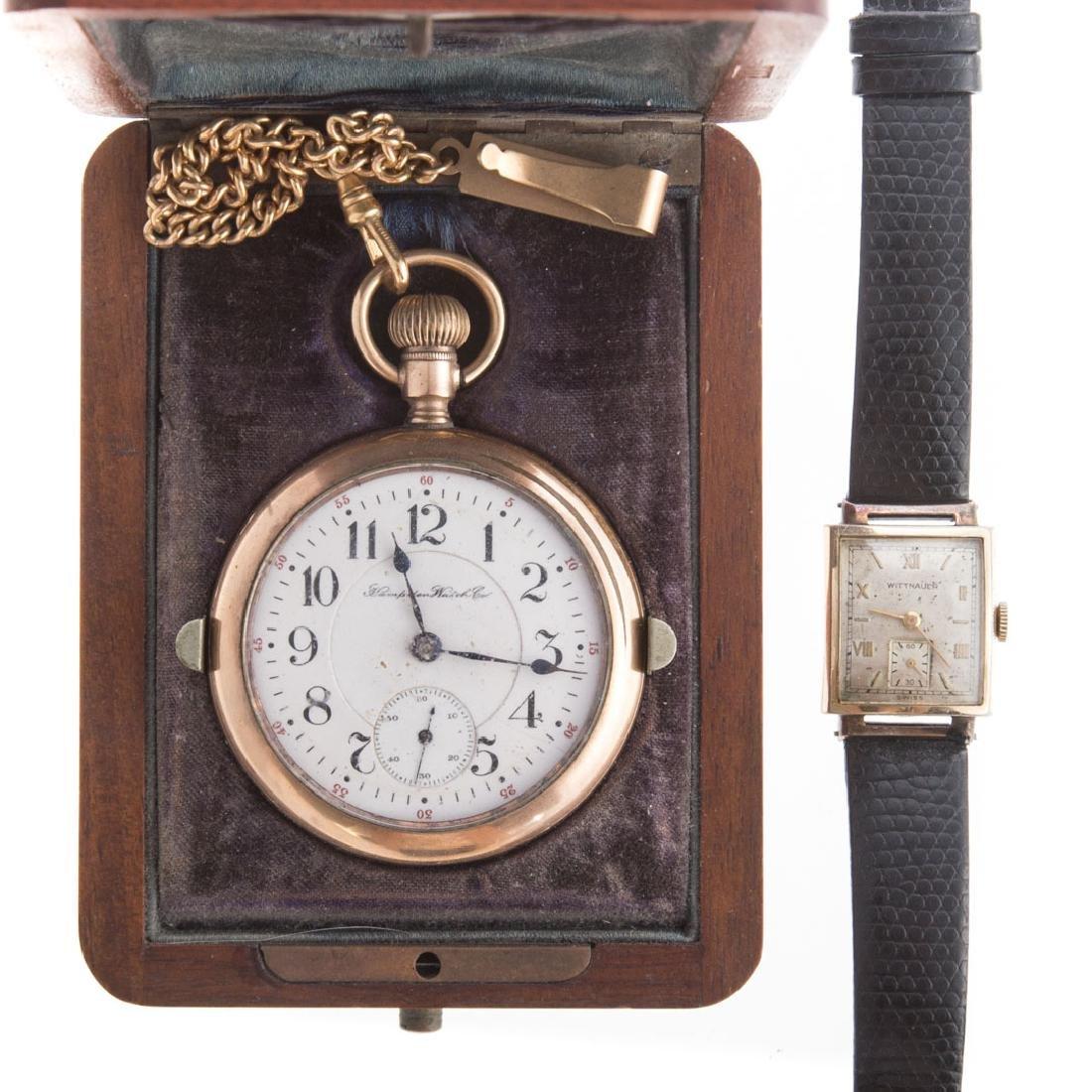 A Gent's Hampden Pocket Watch & Wittnauer Watch