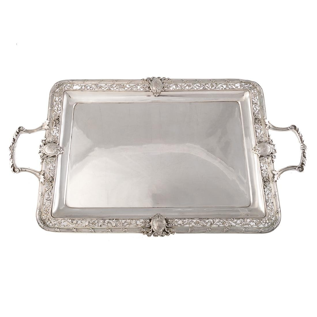 Continental silver double handle tray