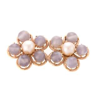 A Ladys 14K Blue Lace Agate Pearl Pin