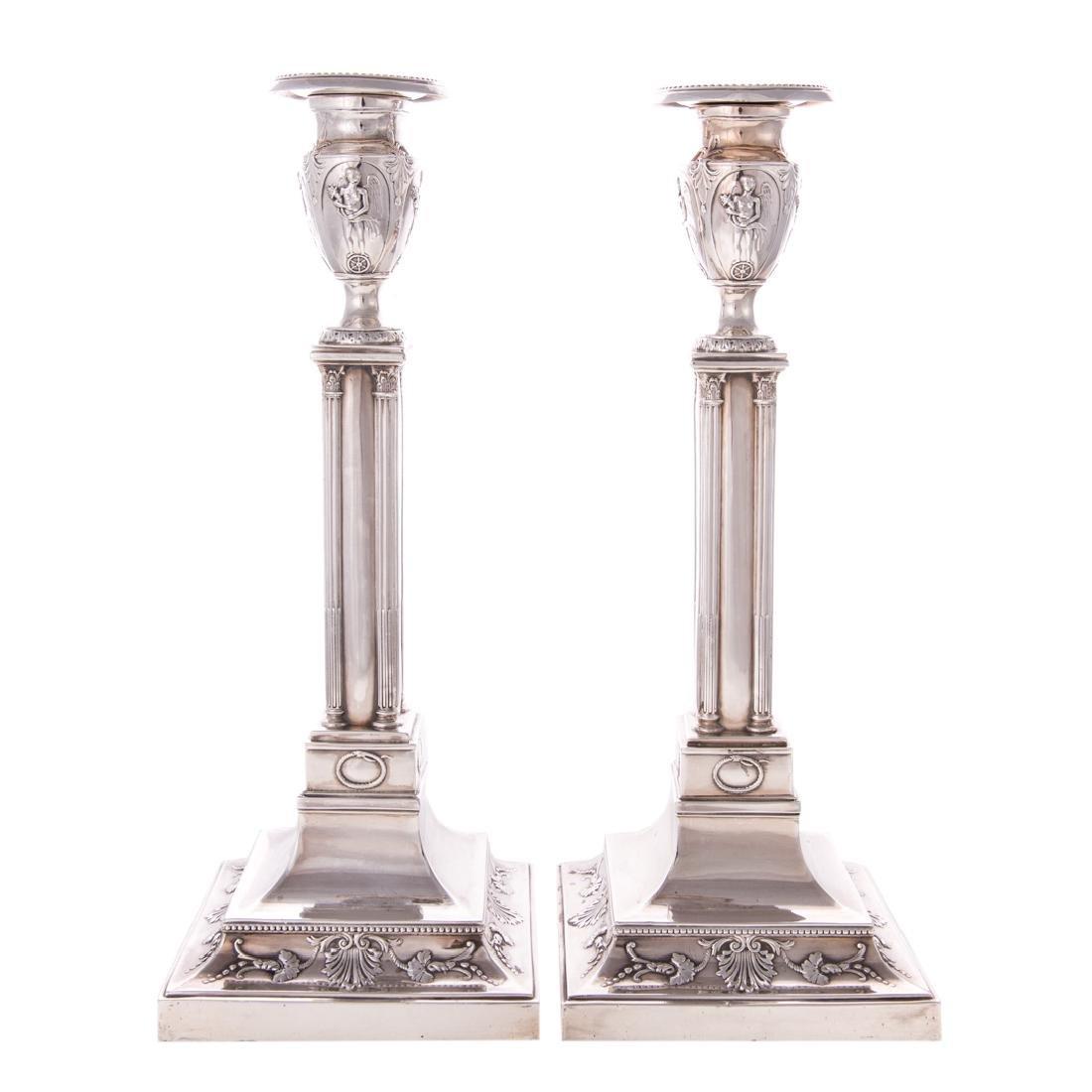 Pair Elizabeth II silver candlesticks