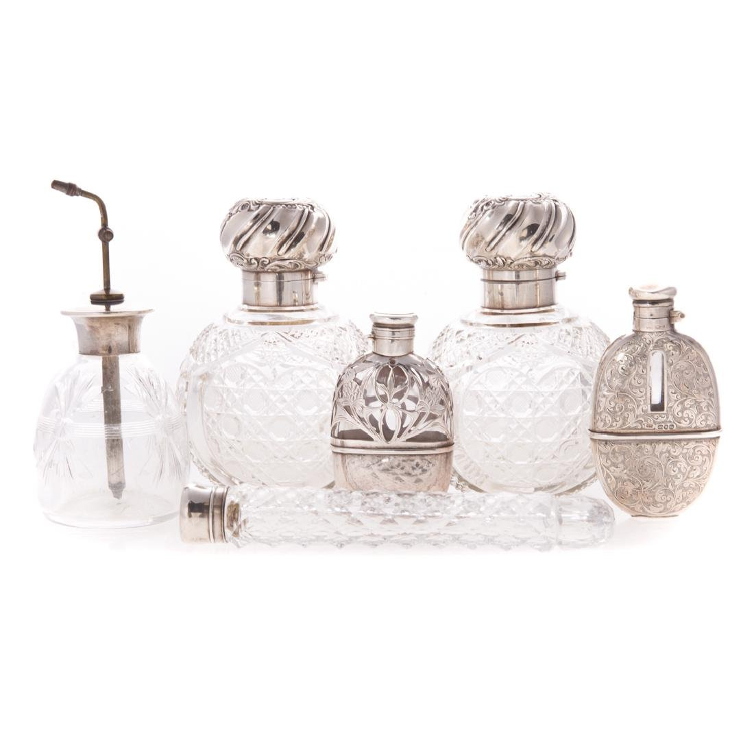 Collection English & American silver scent bottles