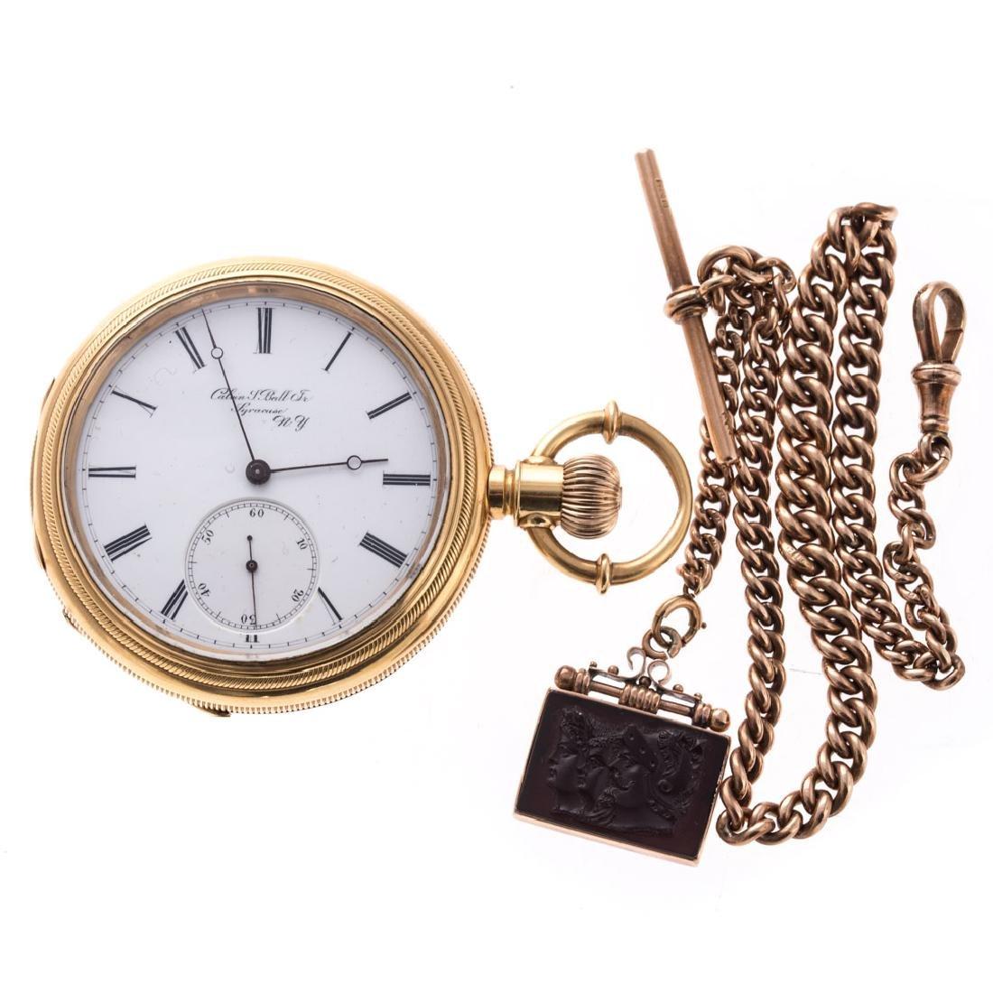 A Calvin Ball Pocket Watch in 18K & 9K Chain