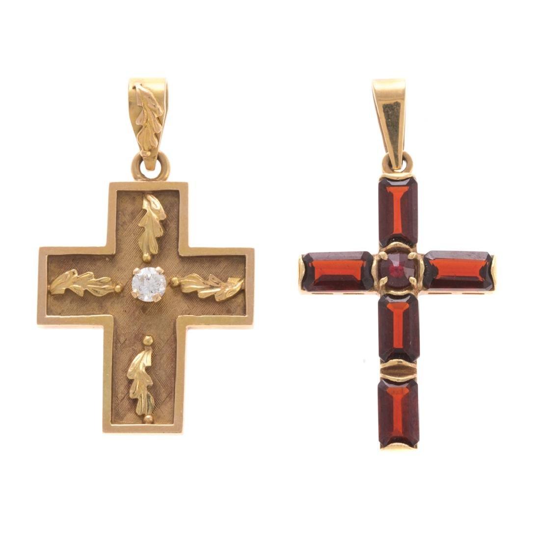 A Garnet Cross & a Cross with Diamond in 14K