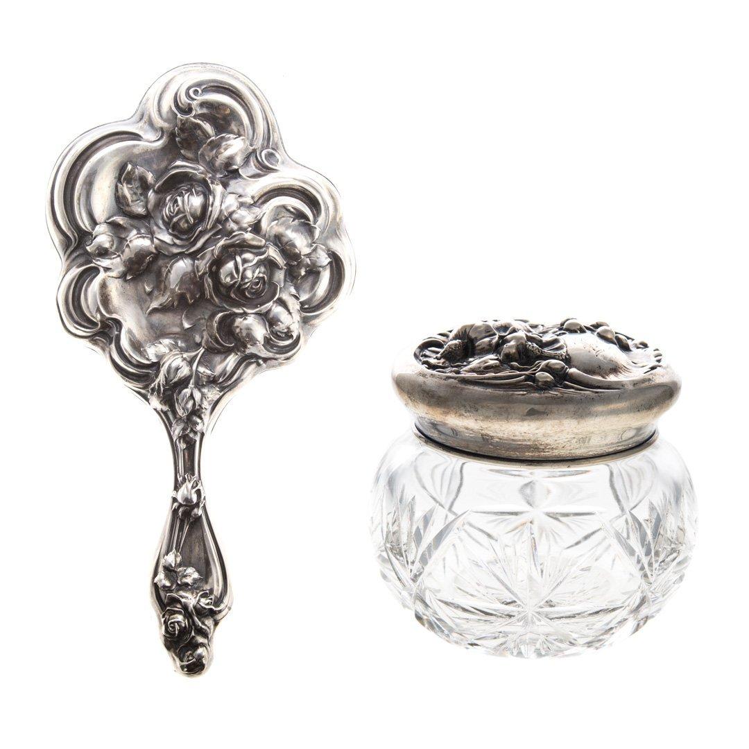 Art Nouveau sterling vanity items