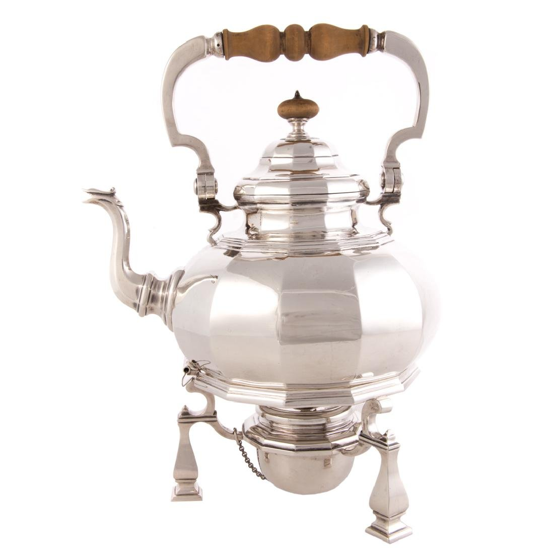Impressive George V silver teapot on stand