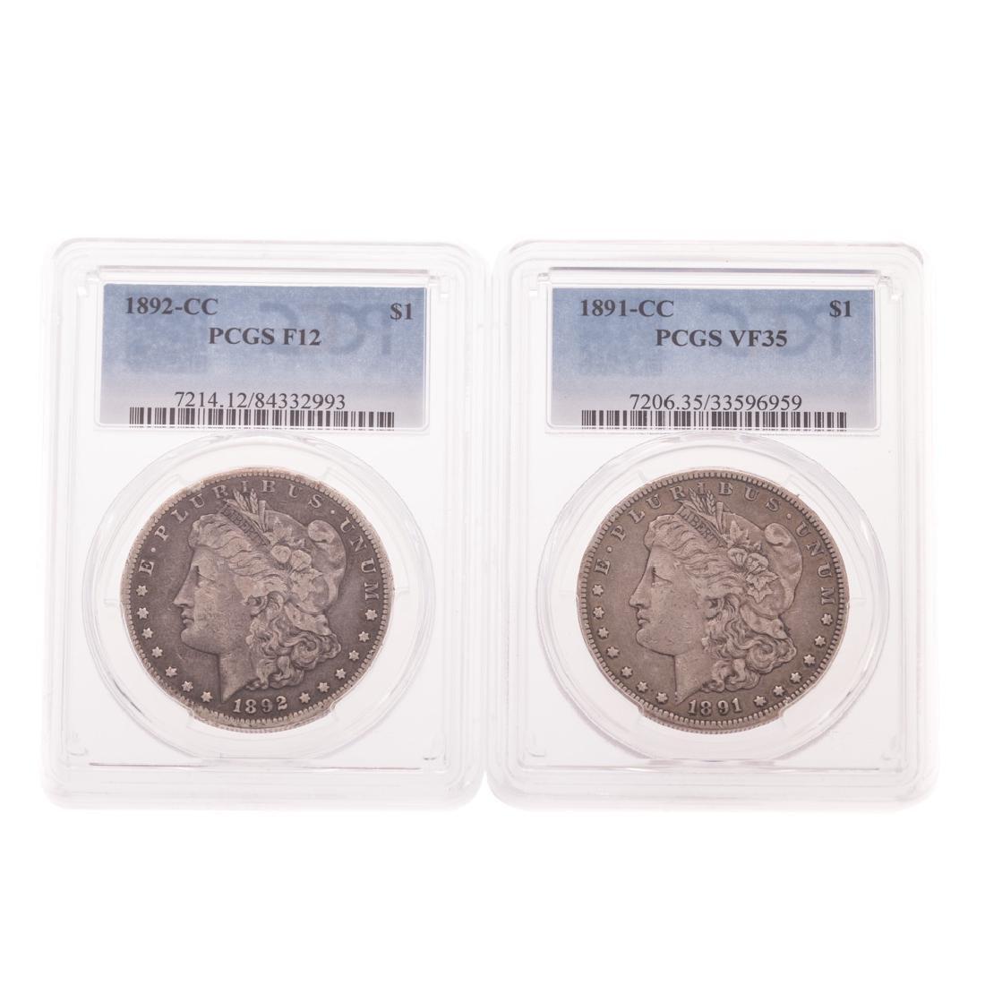 [US] 1891-CC PCGS VF35 & 1892-CC PCGS-12
