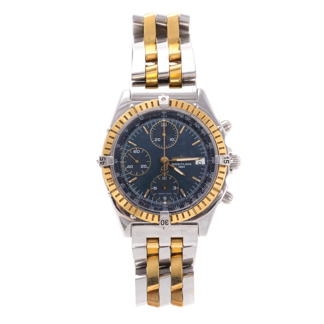 A Two Toned Breitling Windrider Chronograph Watch
