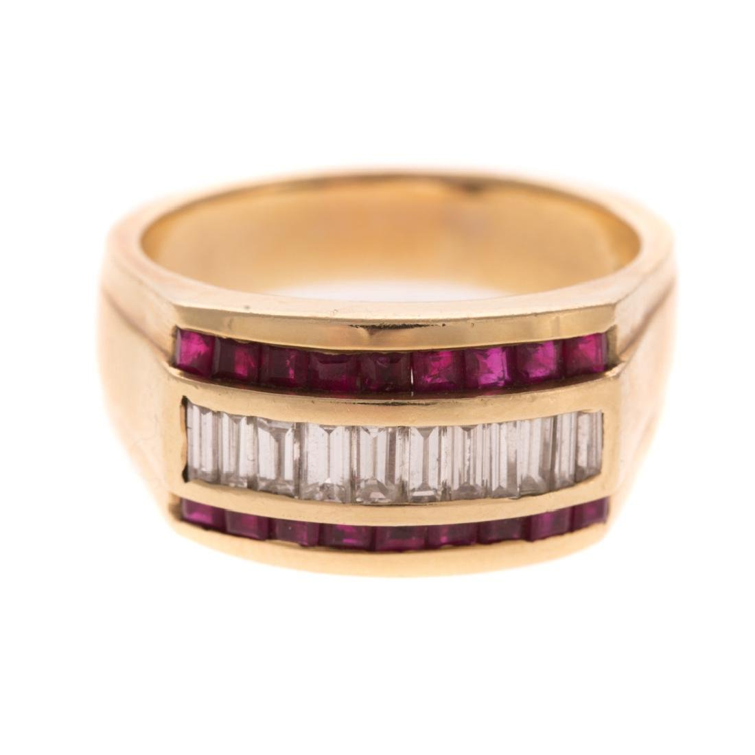 A Gentlemen's Diamond and Ruby Ring in 14K
