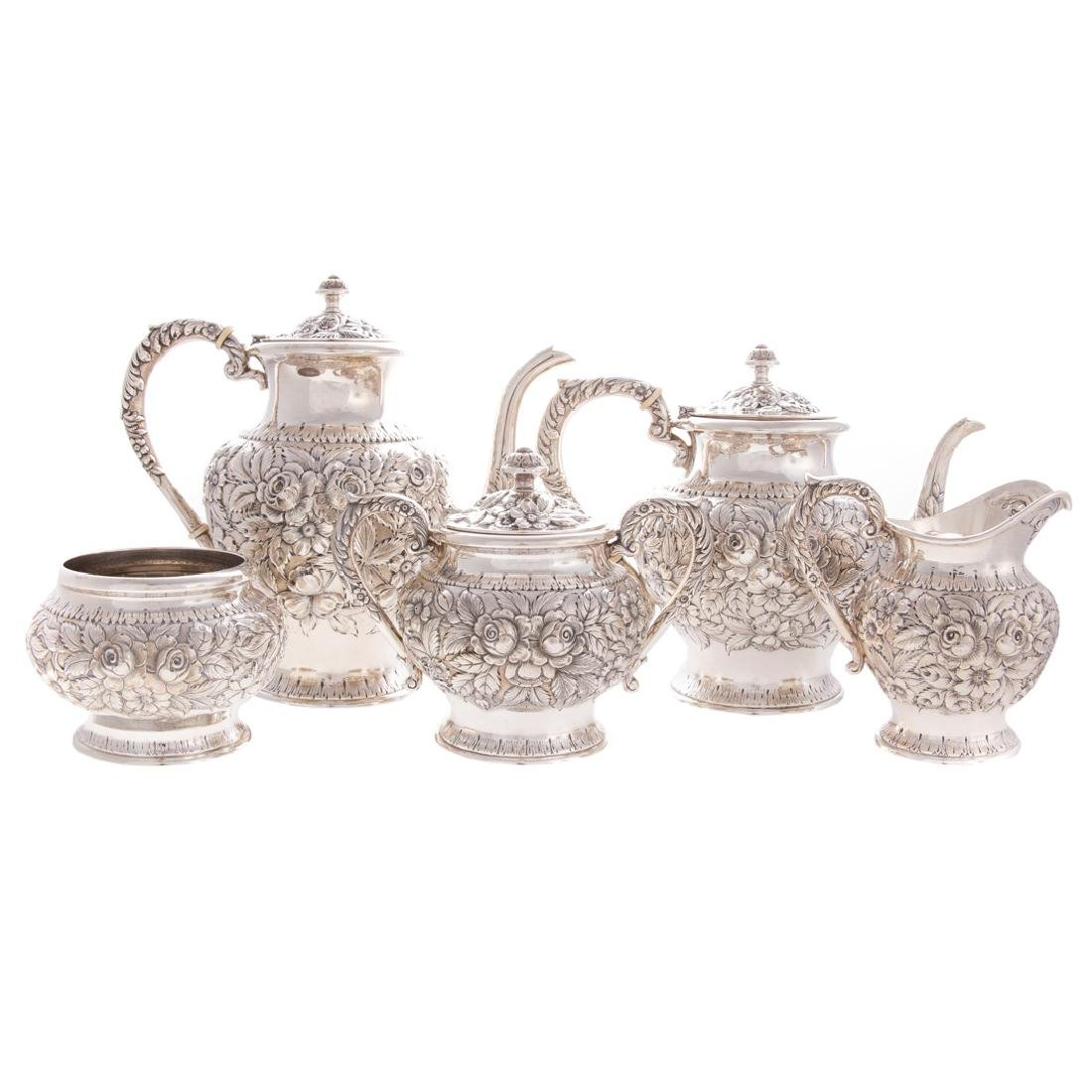 Kirk repousse sterling 5-pc coffee & tea service
