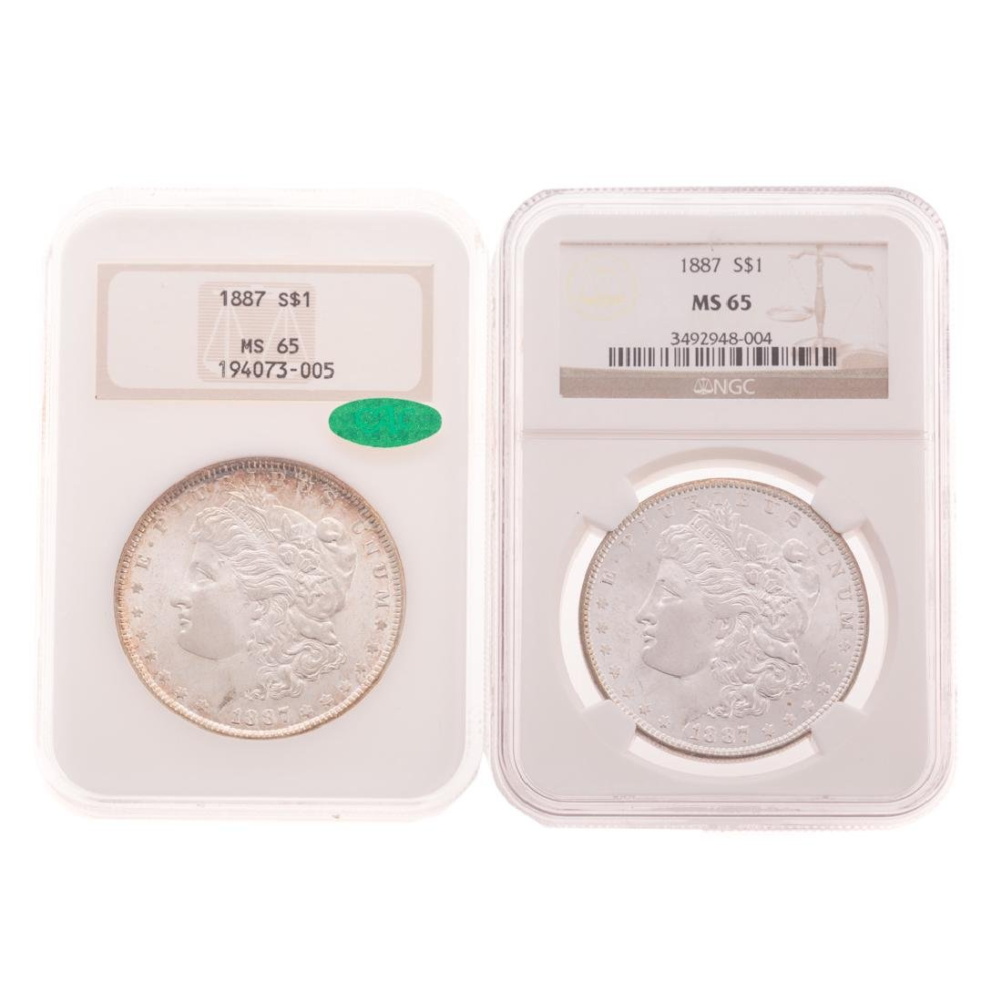 [US] 2-1887 NGC-MS65 Morgans, 1 with CAC