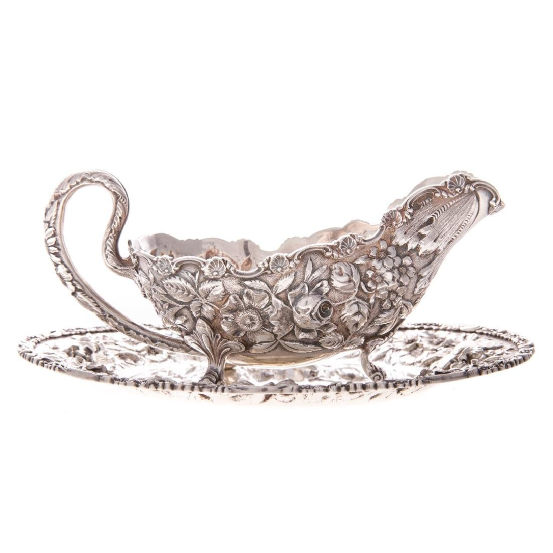Stieff repousse sterling gravy boat & under tray