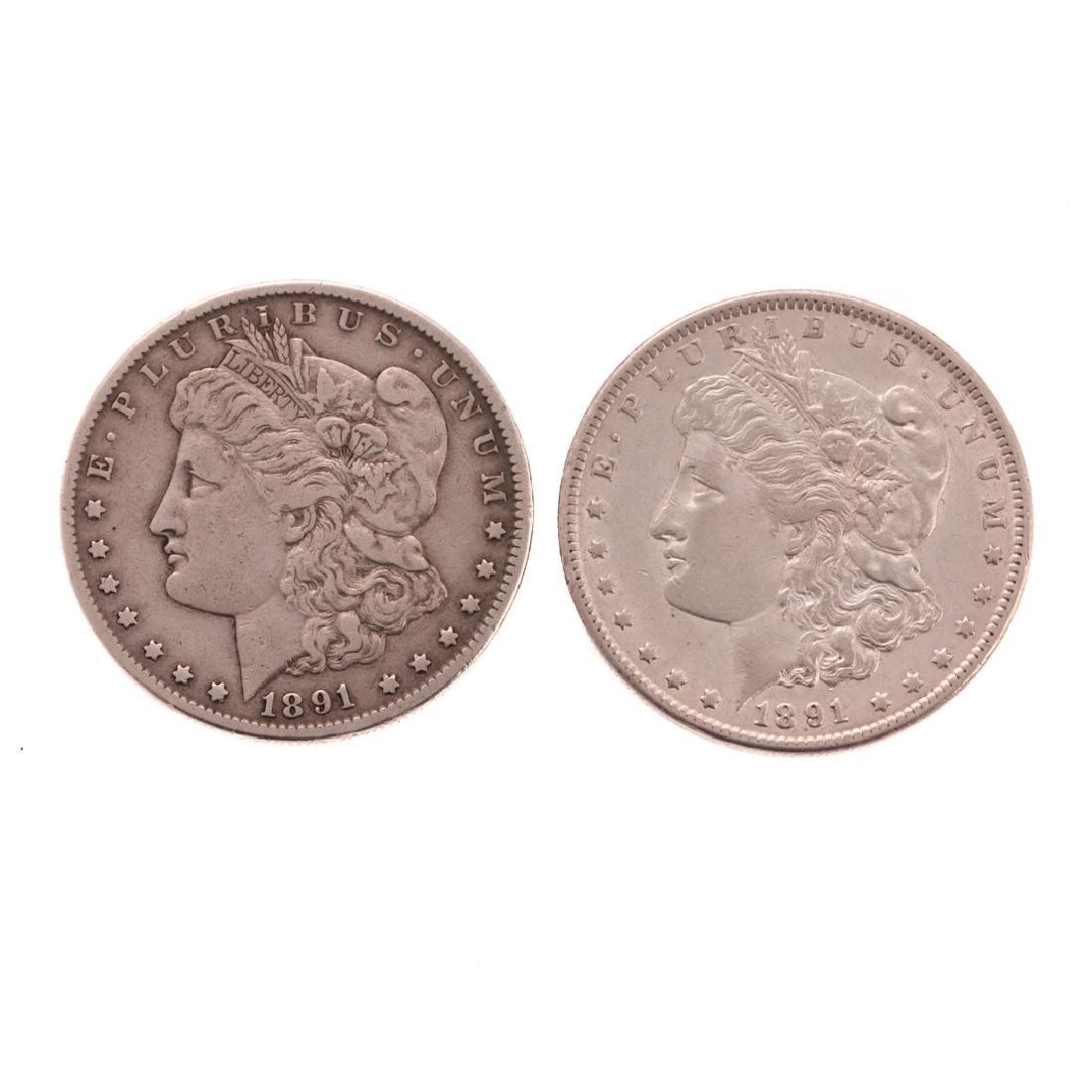 [US] 2-1891-CC Morgan Dollars, XF+ details and VF