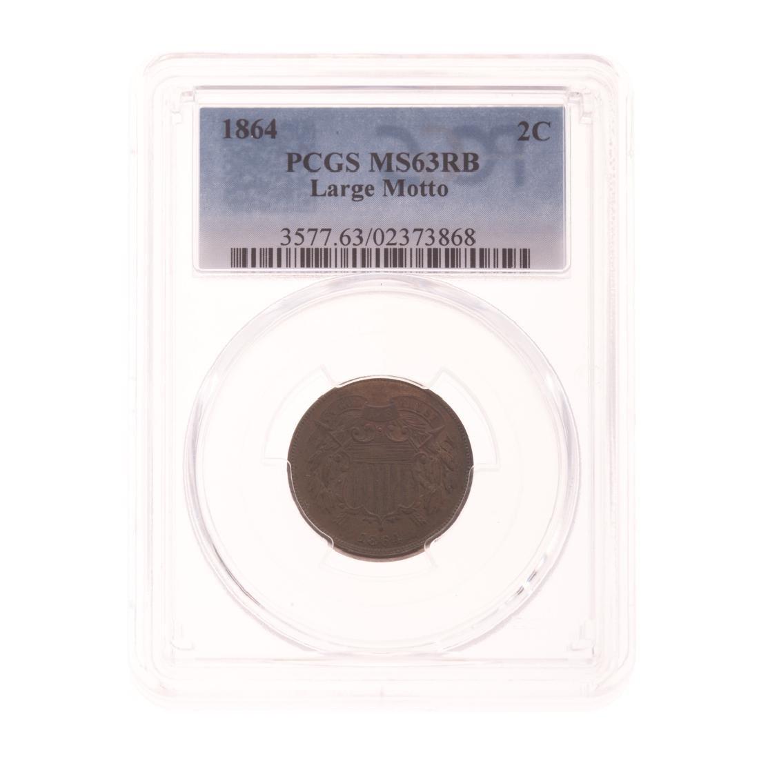 [US] 1864 2 Cent Piece Large Motto PCGS MS63RB