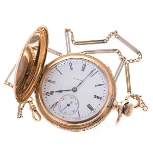 A Gents 14K Elgin Pocket Watch with Chain