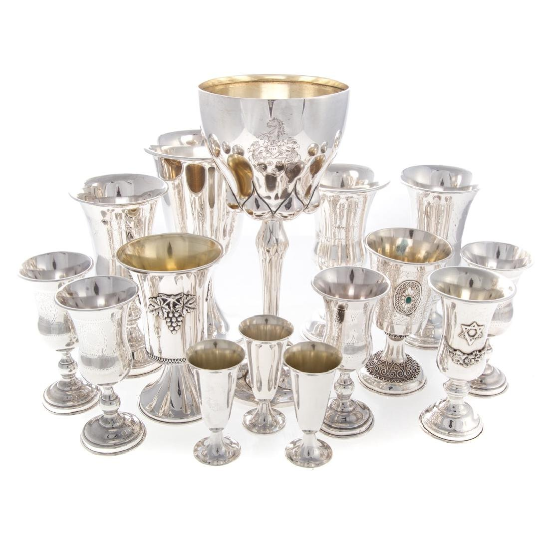 Silver Kiddush cups, wine goblets & cordials