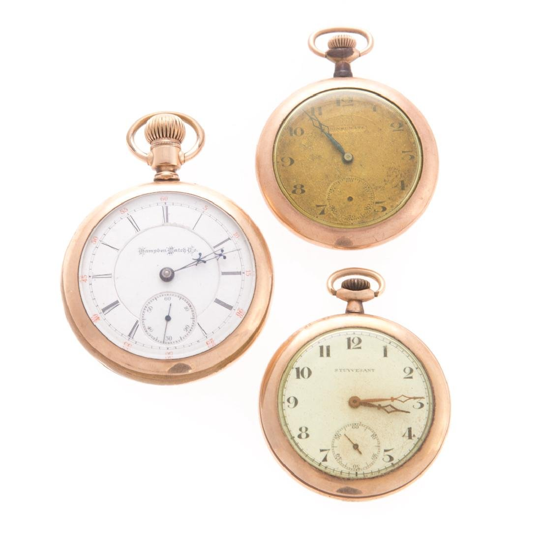 A Trio of Gold Plated Pocket Watches