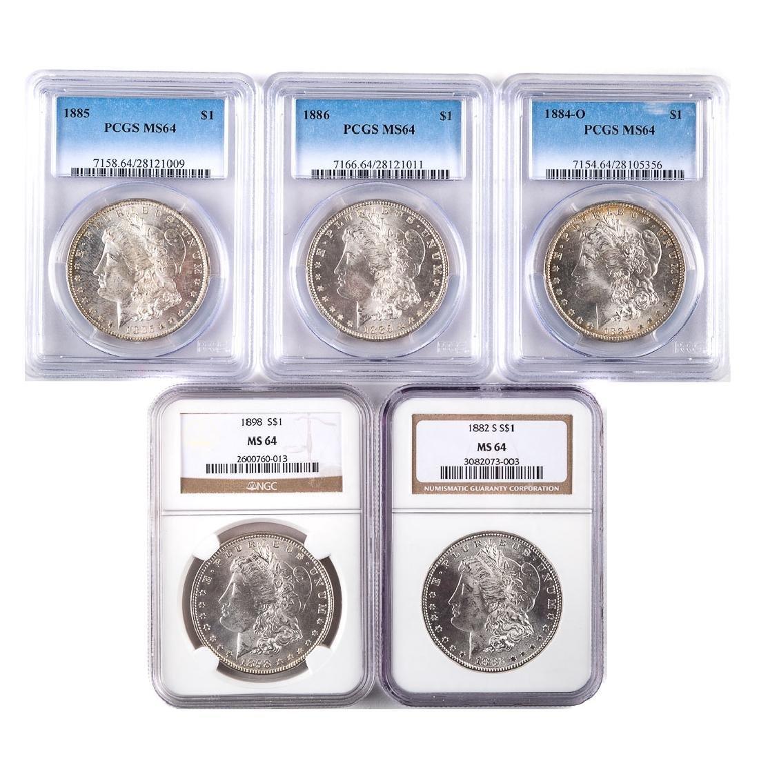 [US] 5 Mint State-64 Certified Morgan Dollars