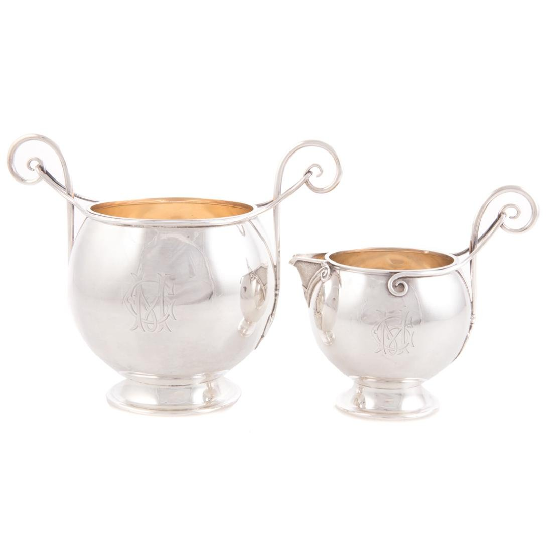 Gorham sterling sugar bowl & cream pitcher